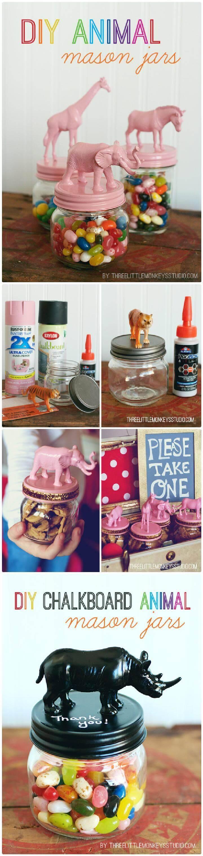 DIY Beautiful Animal Mason Jars