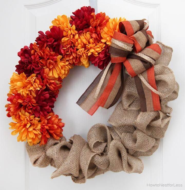 DIY Beautiful Fall Burlap and Flower Wreath