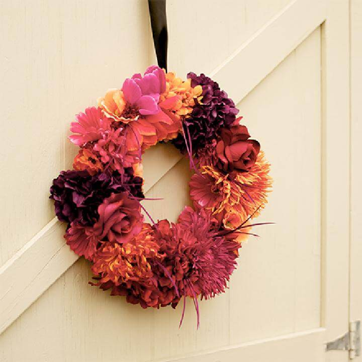 DIY Beautiful Floral Fall Wreath