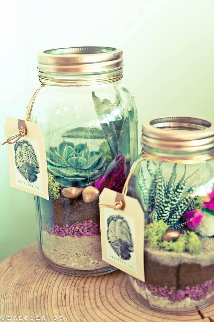DIY Beautiful Mason Jar Succulent Gifts