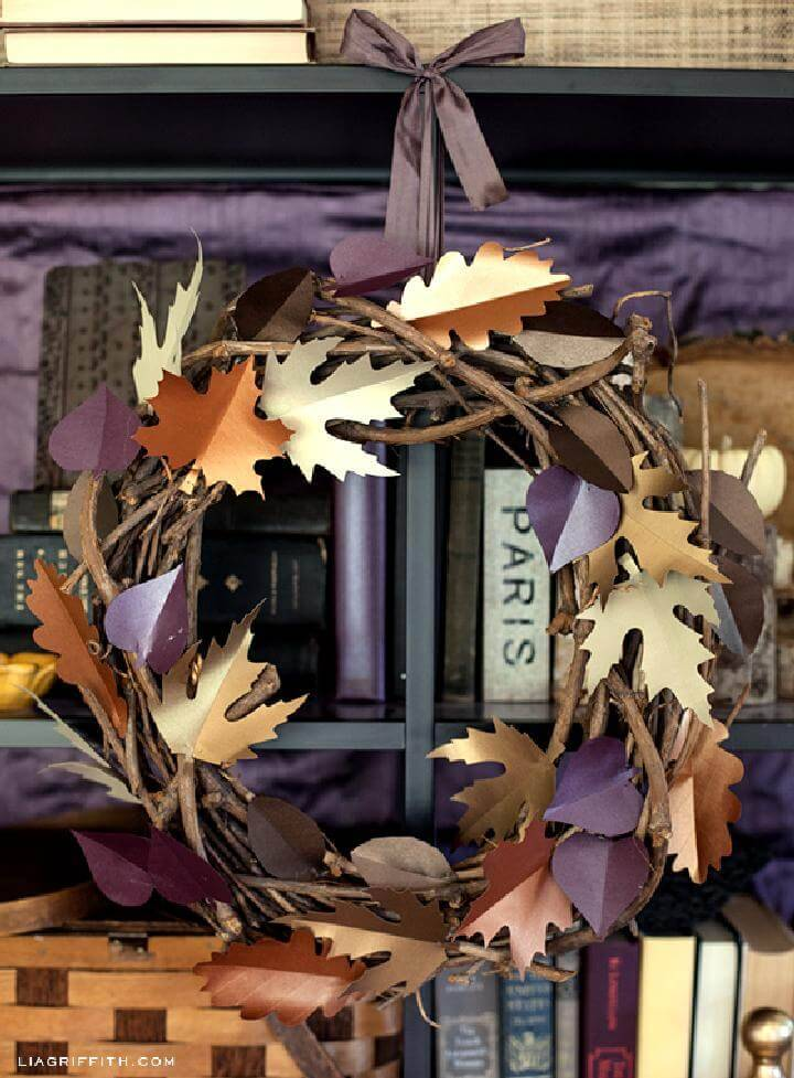 DIY Beautiful Paper Leaf Fall Wreath