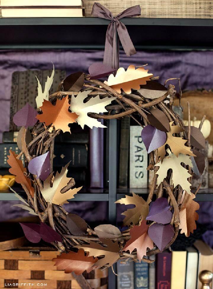 DIY Beautiful Paper Leaf Fall Wreath