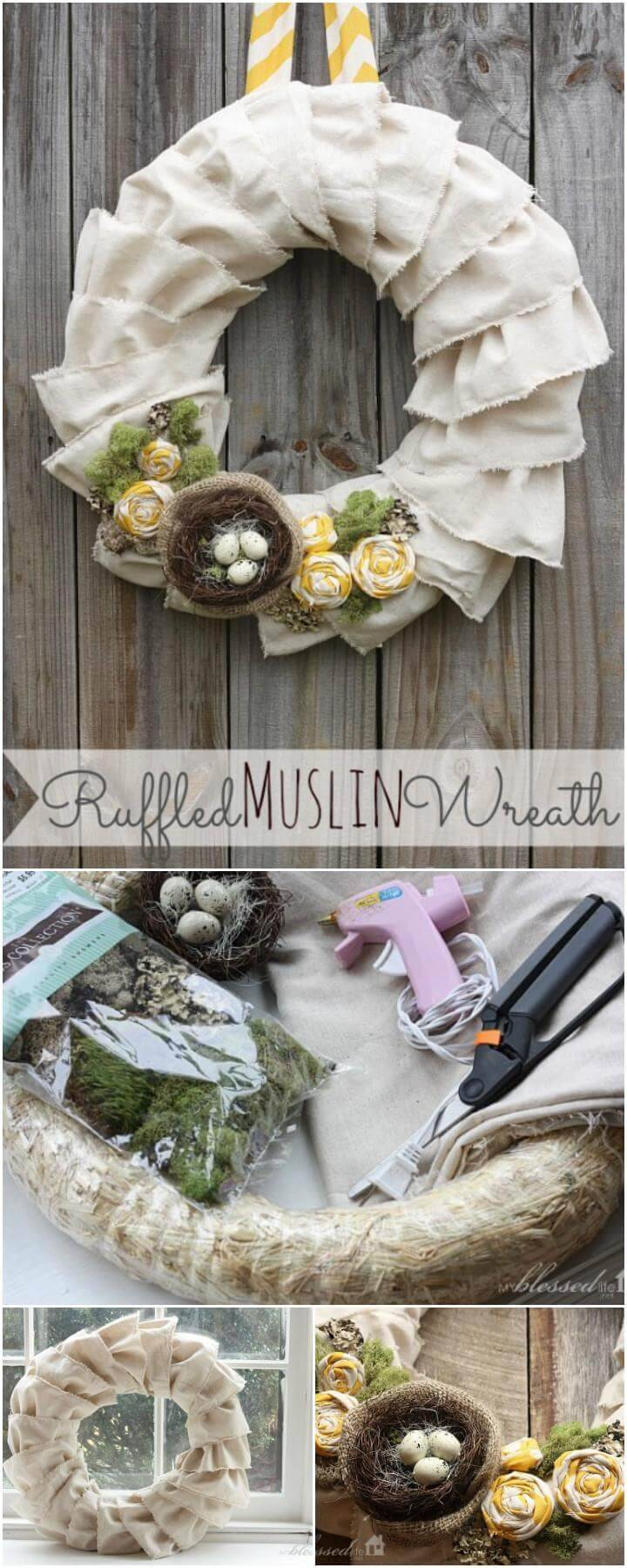 DIY Beautiful Ruffled Muslin Wreath