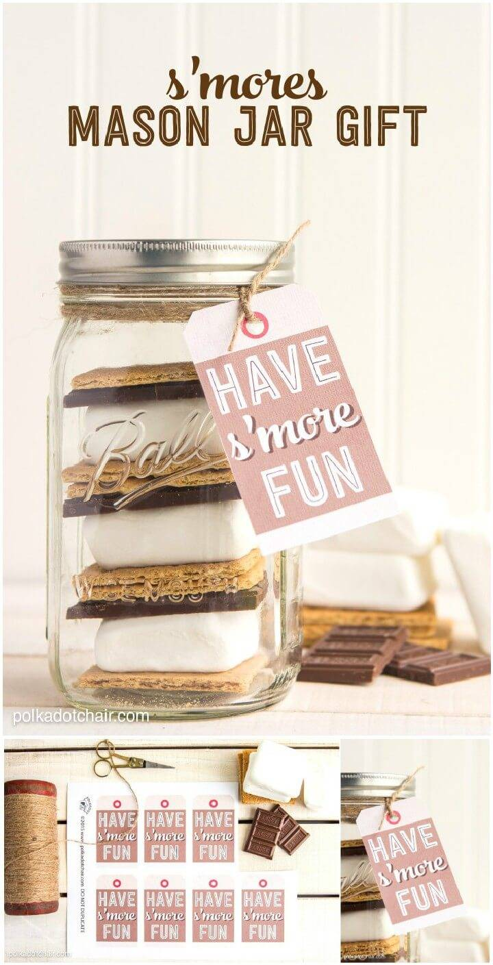 DIY Beautiful S'more Mason Jar Gift