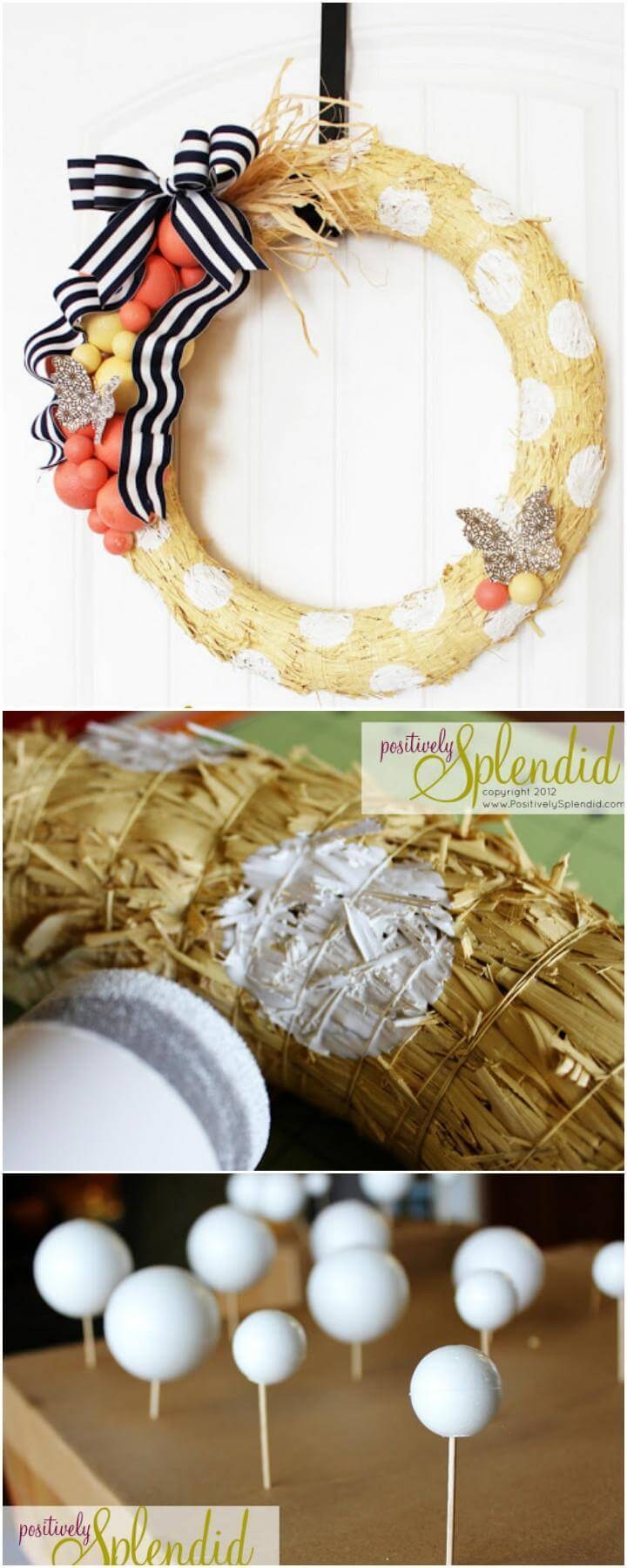 DIY Beautifully Embellished Straw Wreath