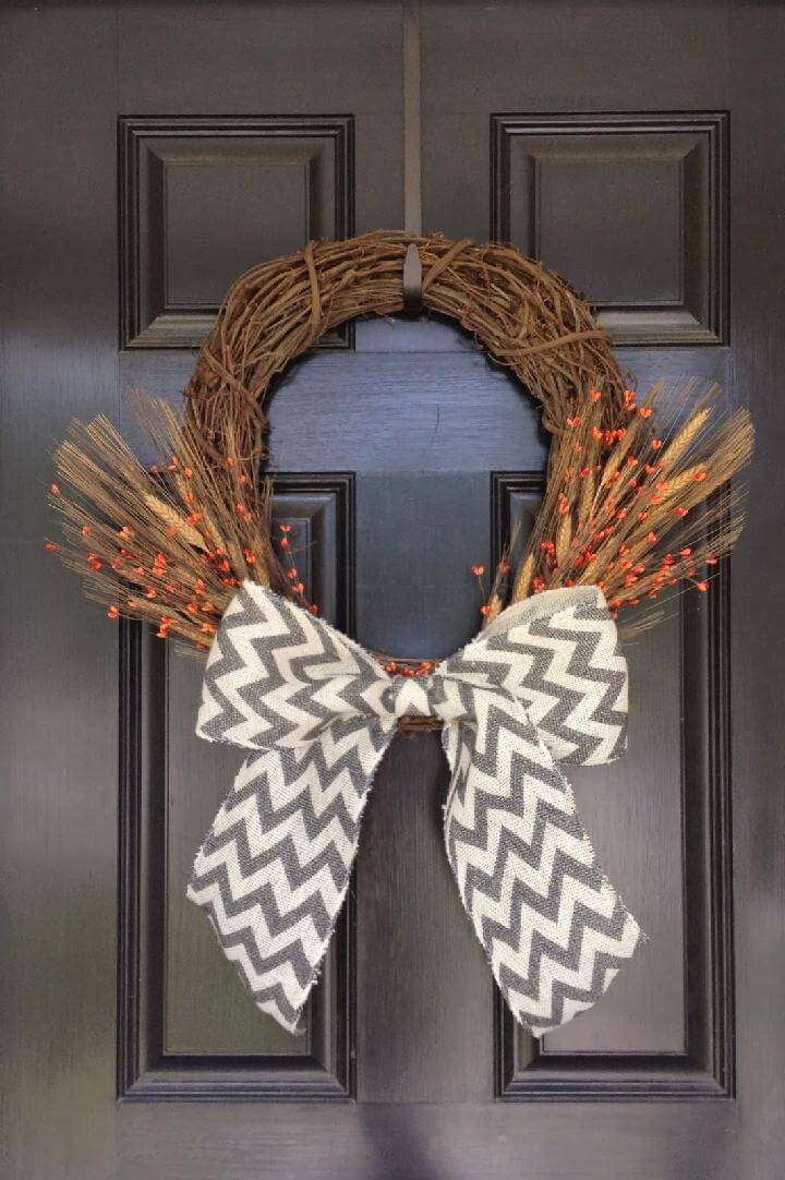 DIY Big Bow Front Door Fall Wreath