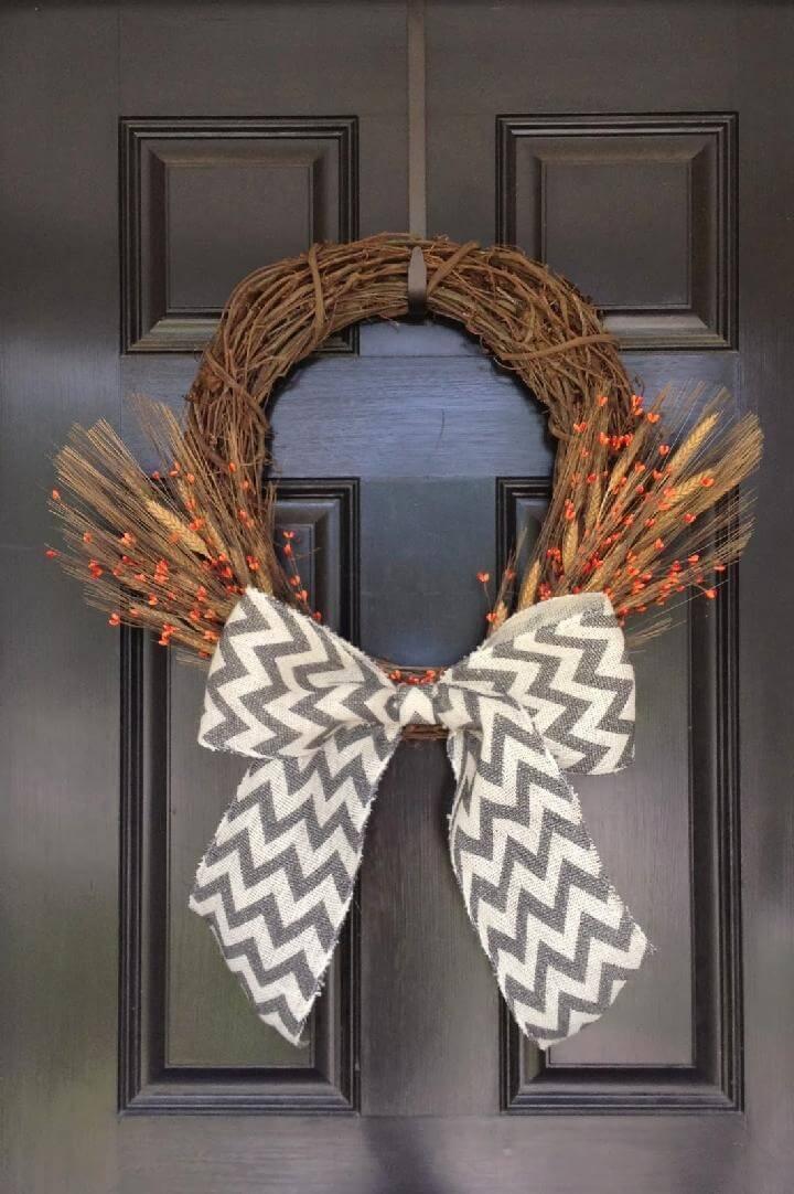 DIY Big Bow Front Door Fall Wreath