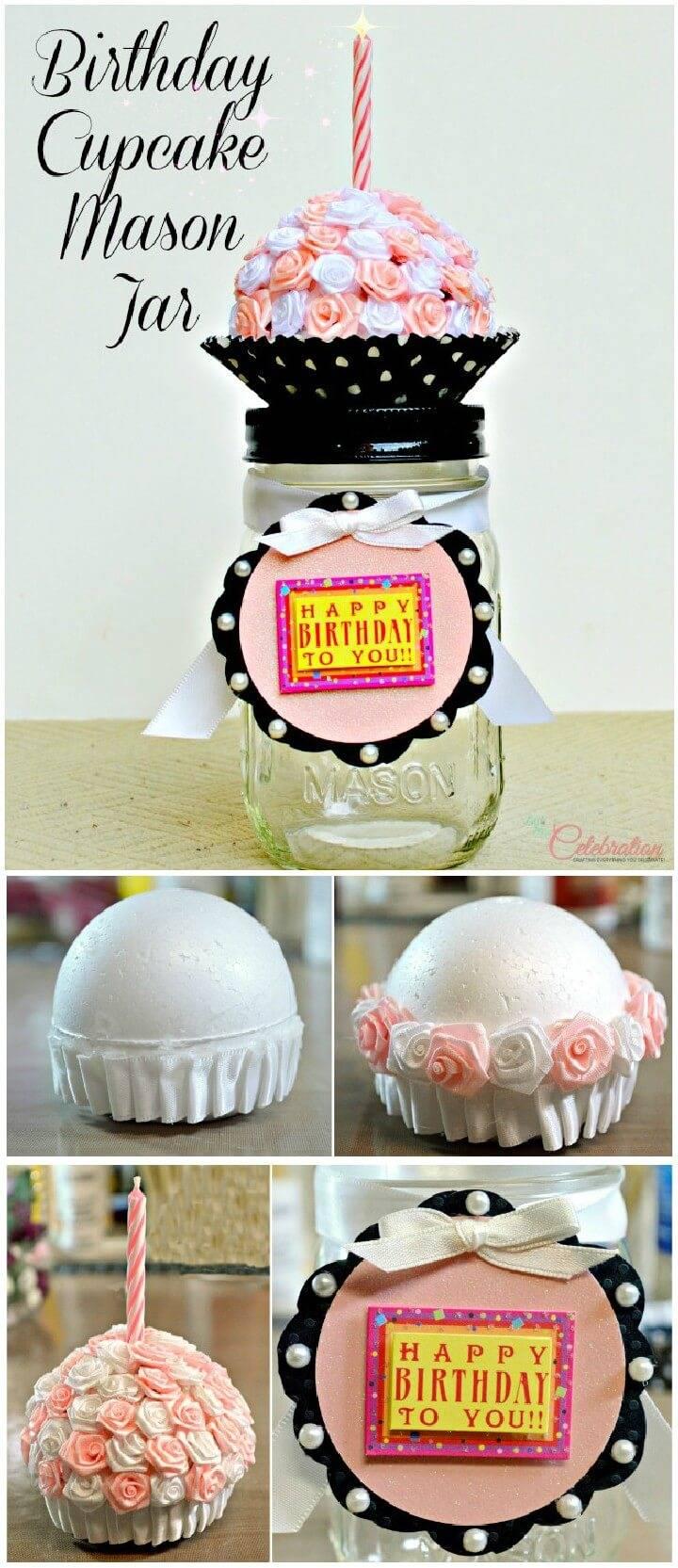 DIY Birthday Cupcake Mason jar Gift