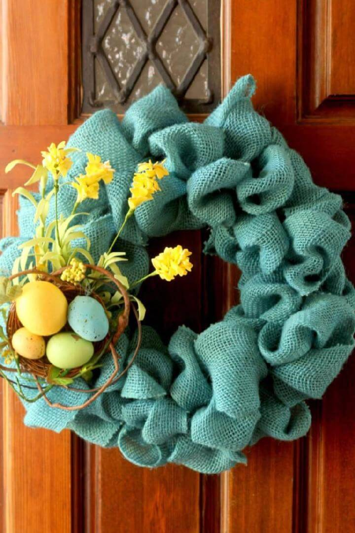 DIY Blue Burlap Wreath