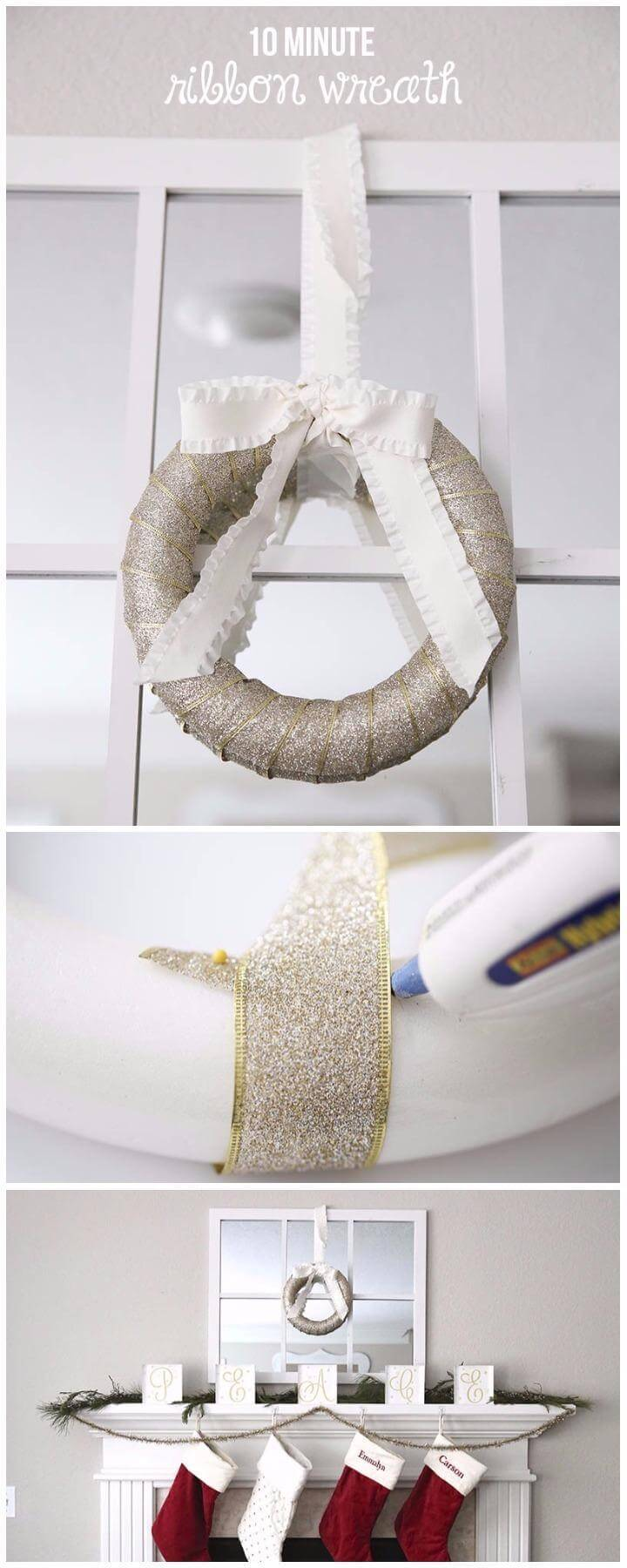 DIY Brilliant 10 Minute Ribbon Wrapped Wreath