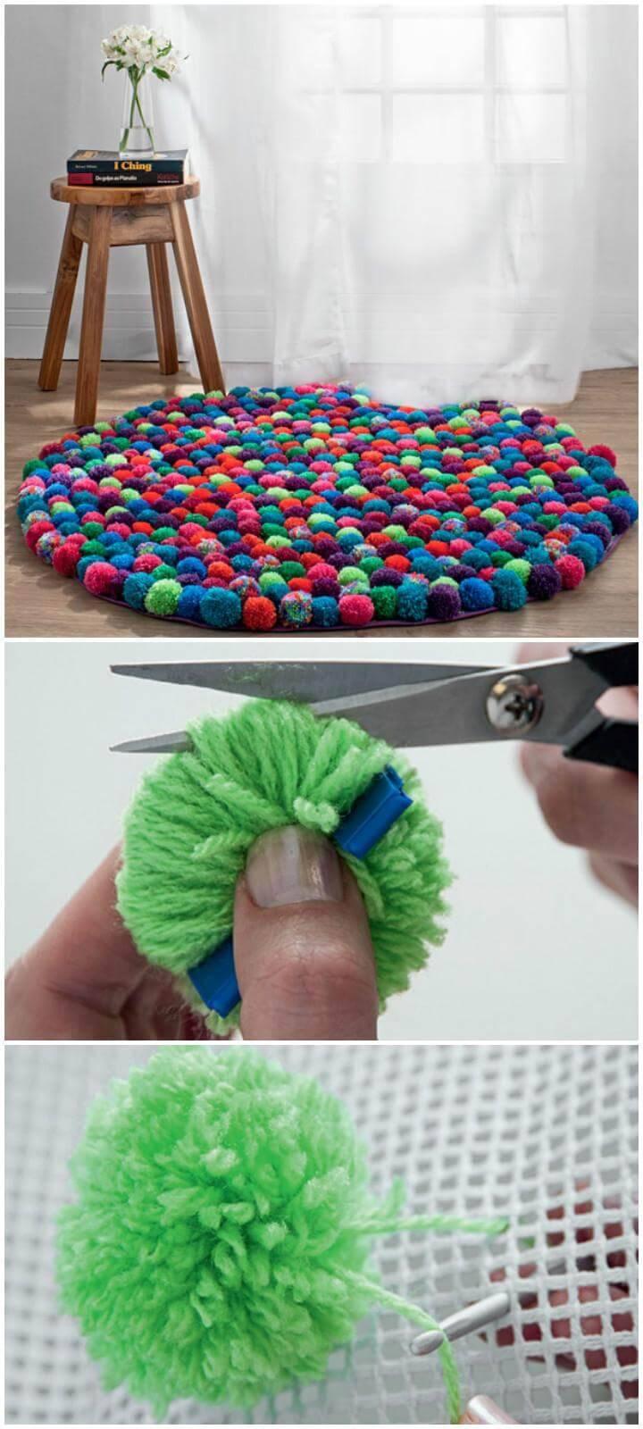 DIY Brilliant Pom Pom Rug