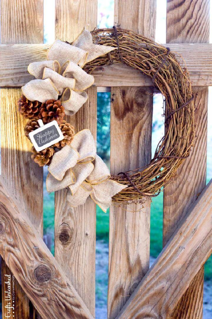 DIY Burlap and Pinecone Fall Wreath
