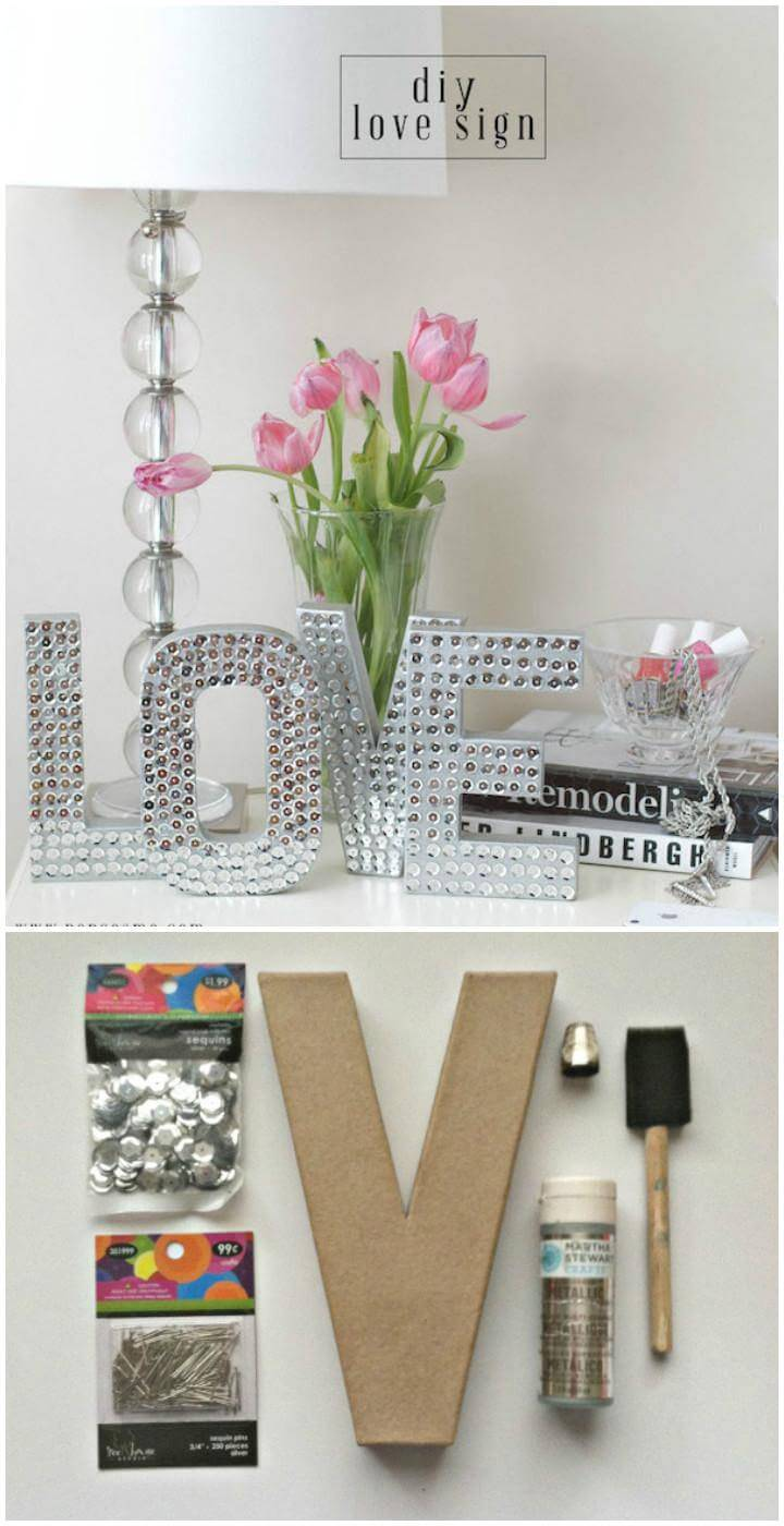 DIY Cardboard and Sequin Pin LOVE Sign