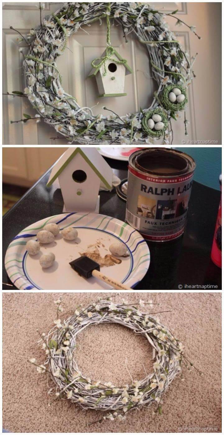 DIY Cherry Blossoms Flower Wreath with Egg Nests