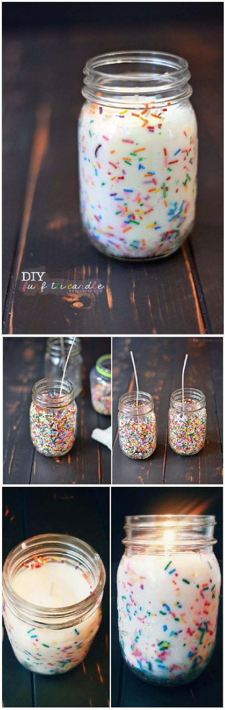 DIY Confetti Candle Mason Jar GiftDIY Confetti Candle Mason Jar Gift