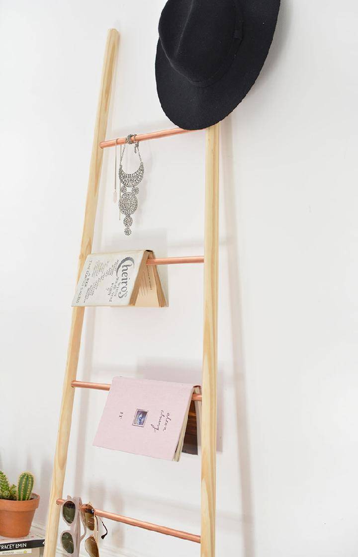DIY Copper and Wood Ladder Shelf