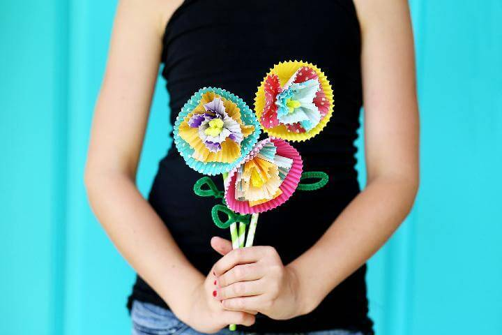 DIY Cupcake Liner Flower Teen Craft