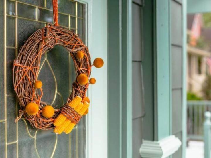 DIY Dried Corn Rustic Fall Wreath