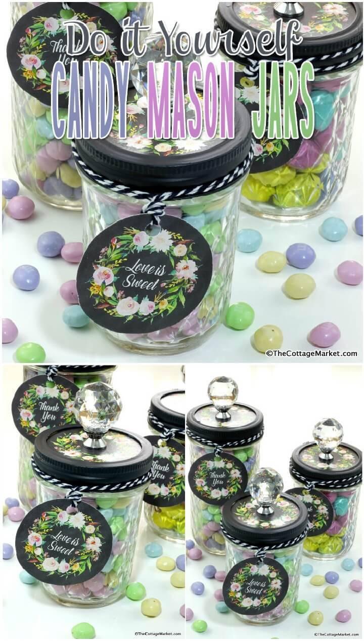 DIY Easy Candy Mason Jar Gifts