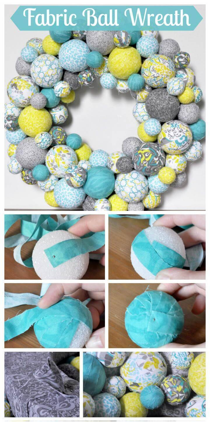 DIY Easy Fabric Ball Wreath
