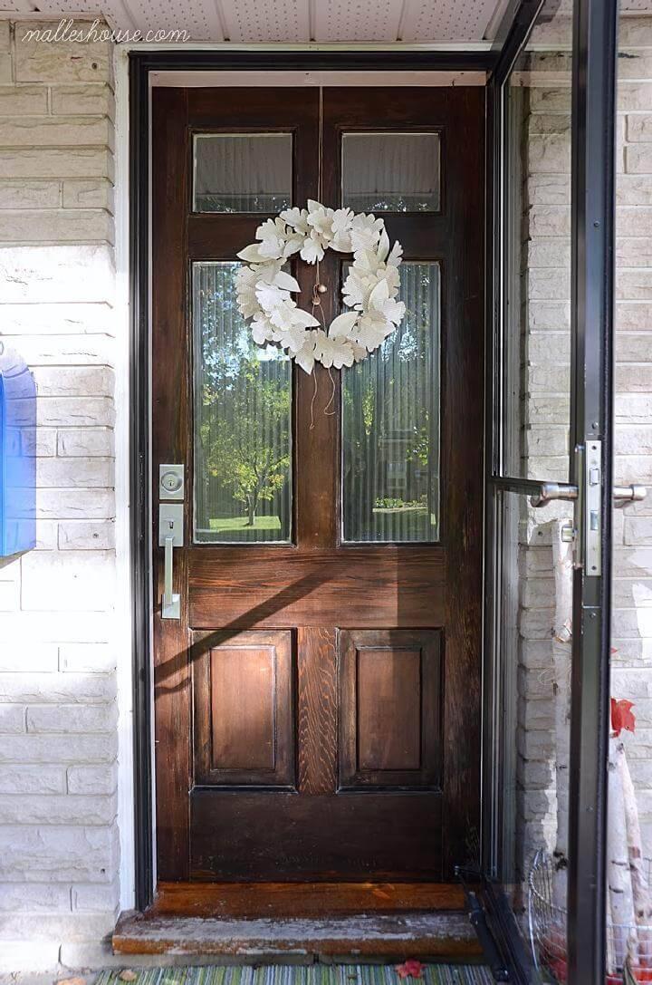DIY Easy Front Door Paper Leaf Wreath