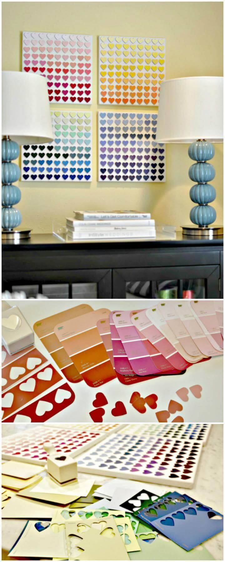 DIY Easy Paint Chip Heart Wall Art