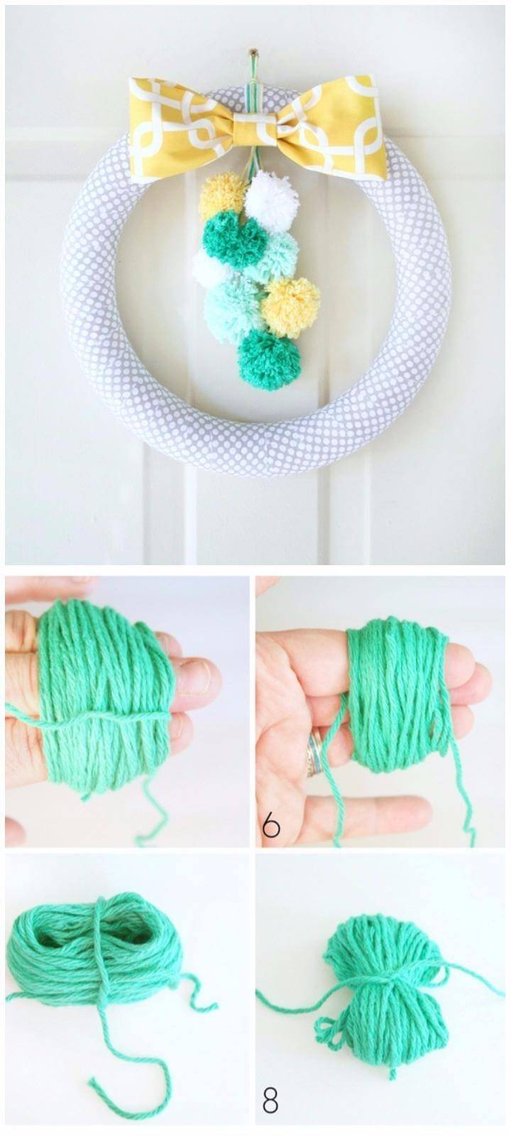 DIY Easy Pom-Pom Spring Wreath