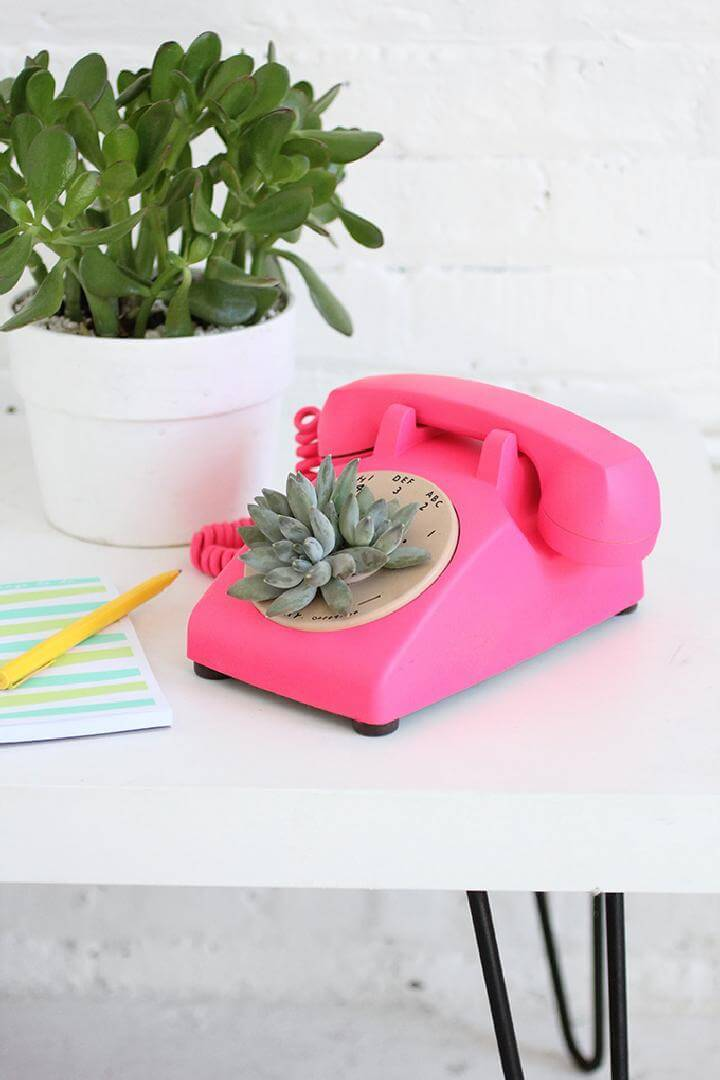 DIY Easy Rotary Phone Succulent Planter