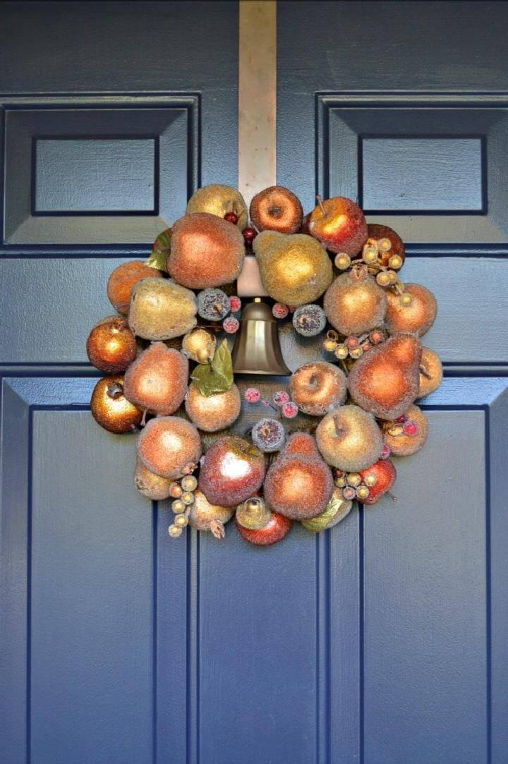 DIY Easy Sugared Fruit Fall Wreath