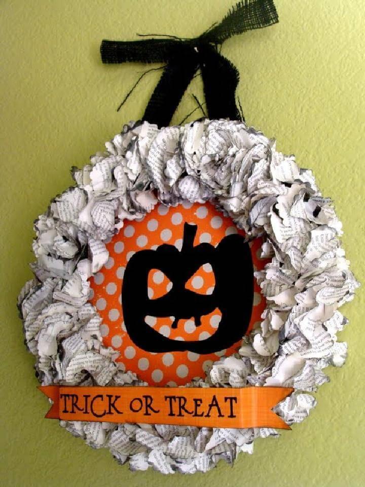 DIY Easy Trick or Treat Halloween Fall Wreath