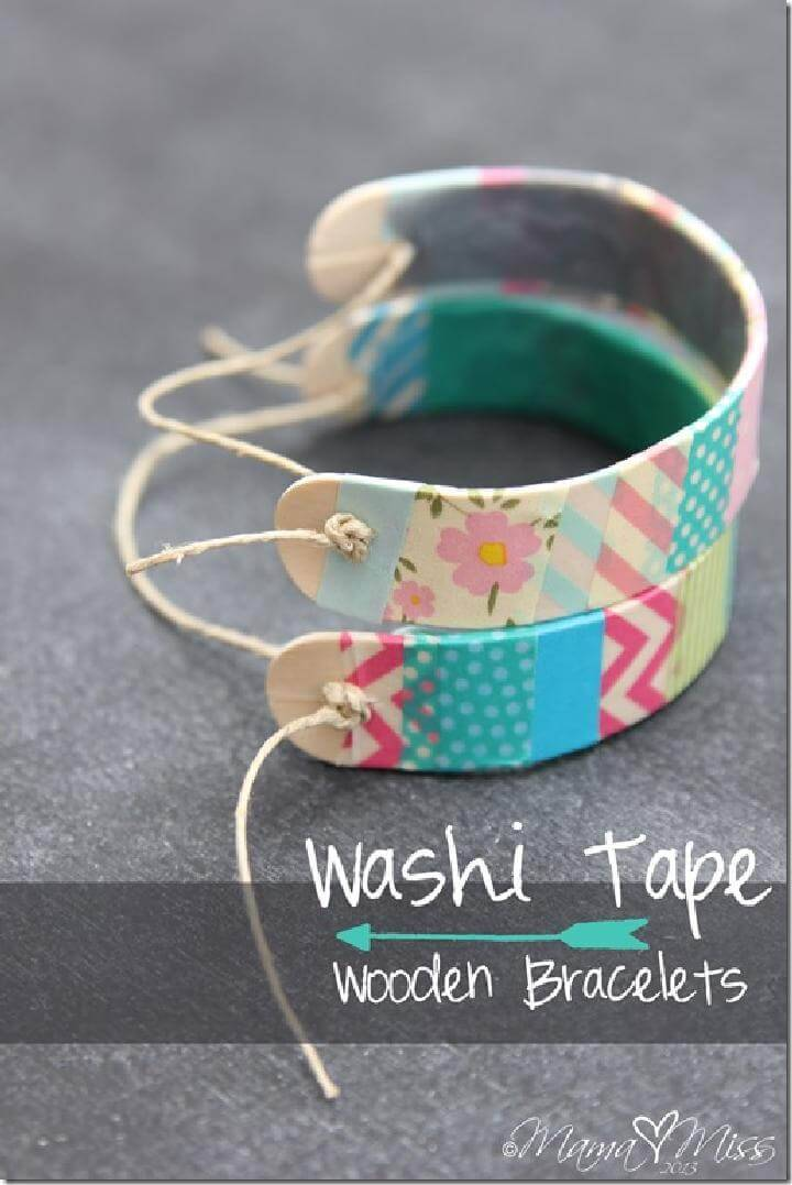 DIY Easy Washi Tape Wooden Bracelets