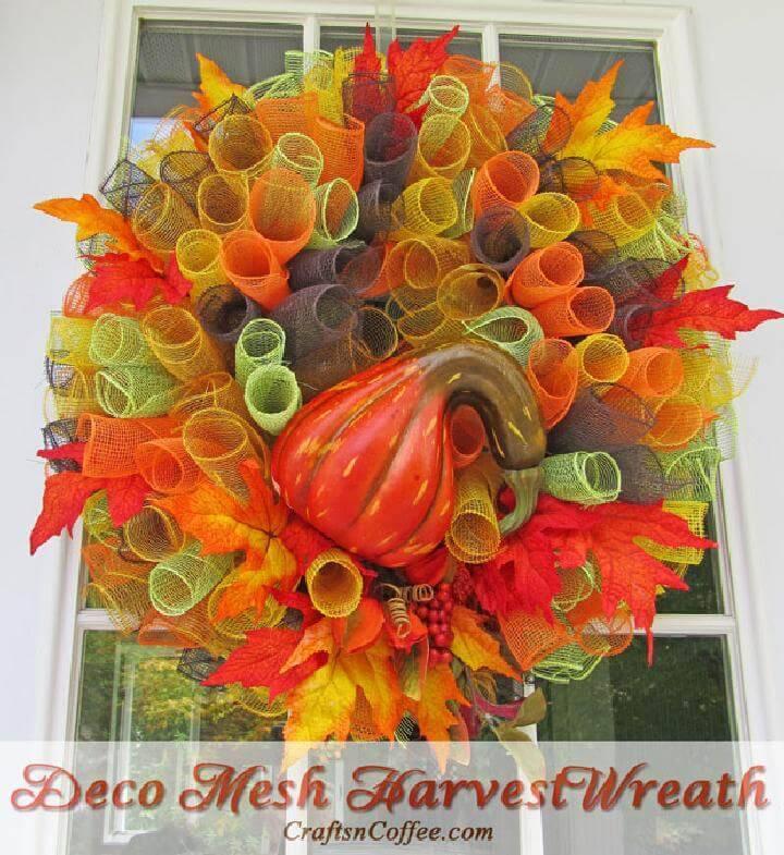 DIY Easy but Great Deco Mesh Fall Wreath