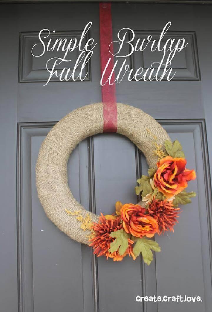 DIY Easy-to-Make Burlap Fall Wreath