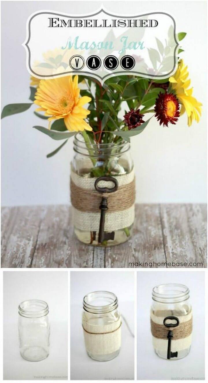 DIY Embellished Mason Jar Vase Gift