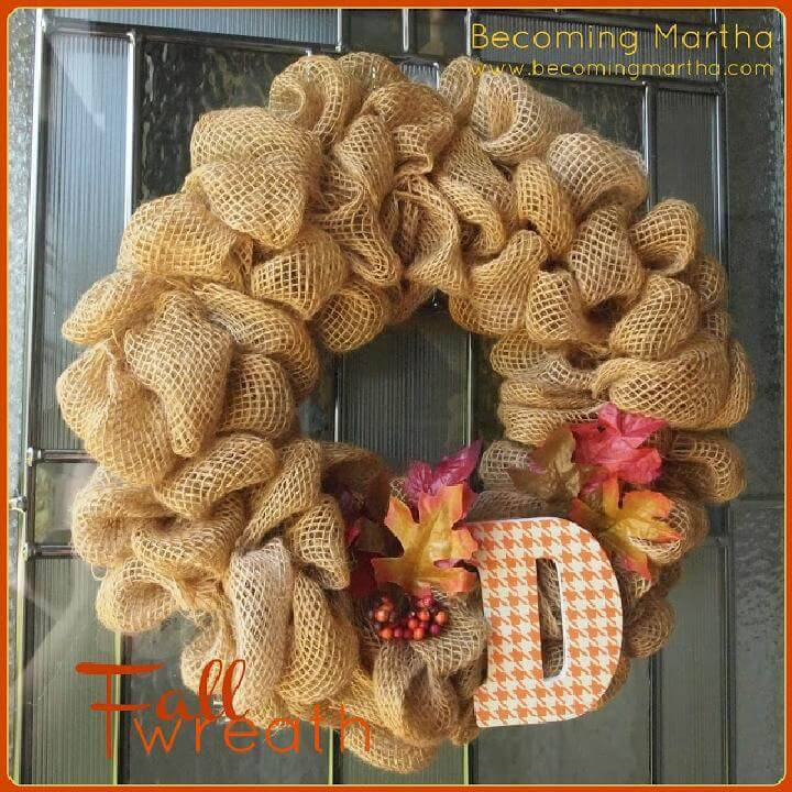 DIY Fall or Autumn Monogram Burlap Wreath