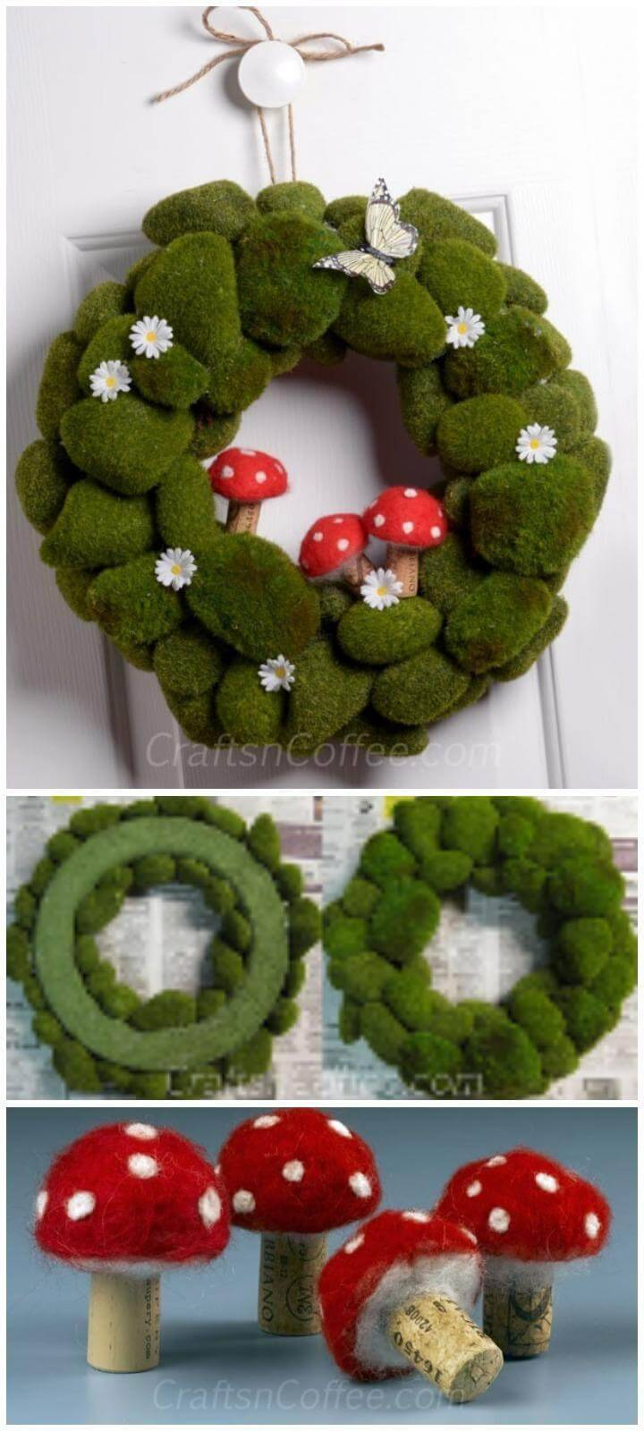 DIY Fetching Moss Rock Wreath with Mushrooms