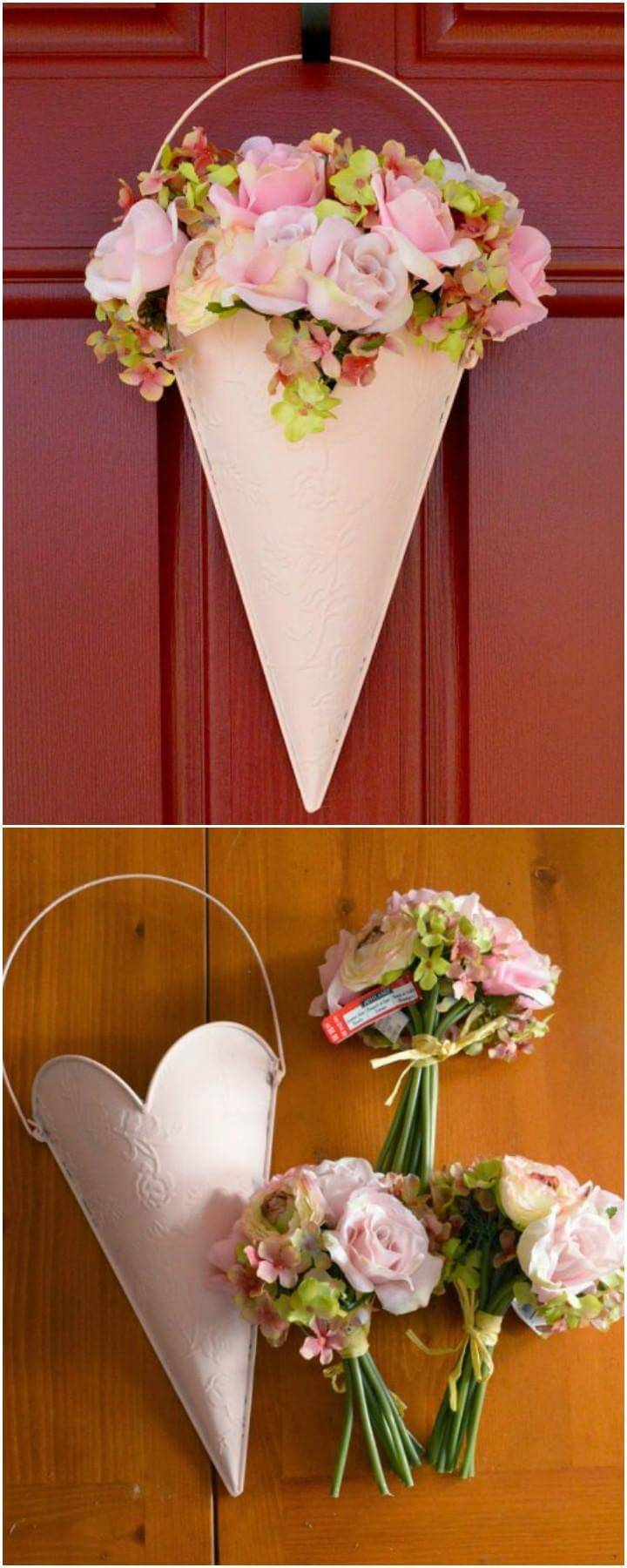 DIY Floral Front Door Hanging Decor