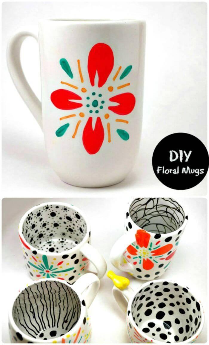 DIY Floral Mugs