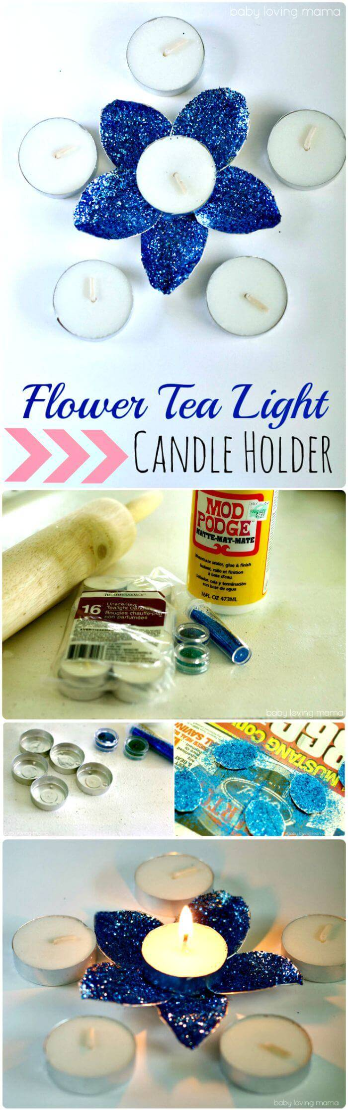 DIY Flower Tea Light Candle Holder
