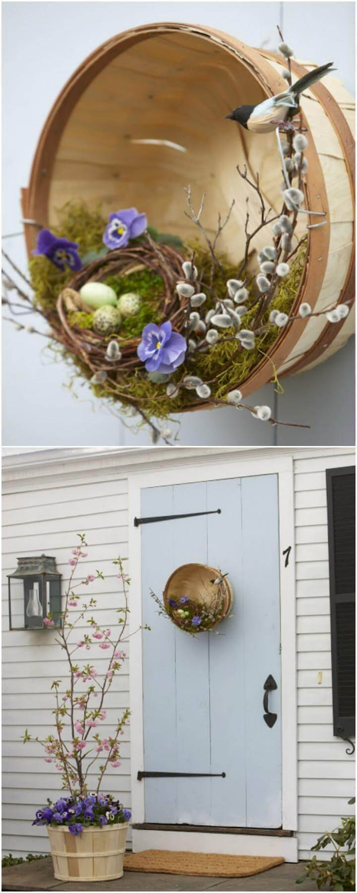 DIY Front Door Wreath Basket