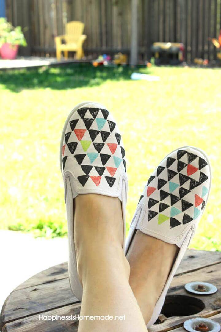 DIY Geometric Stamped Shoes