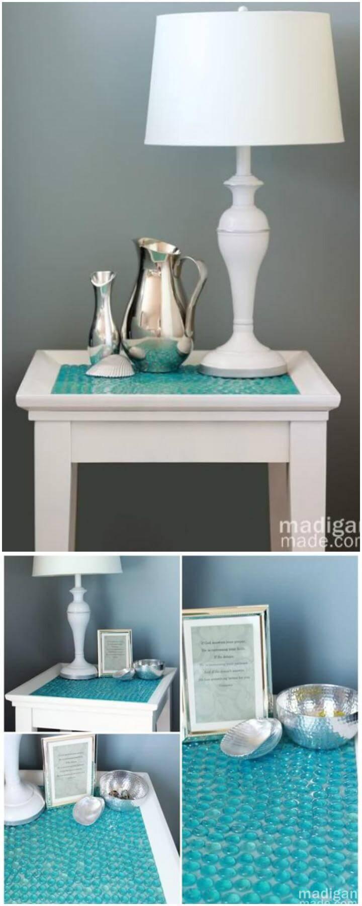 DIY Glass Gems Tiled Table