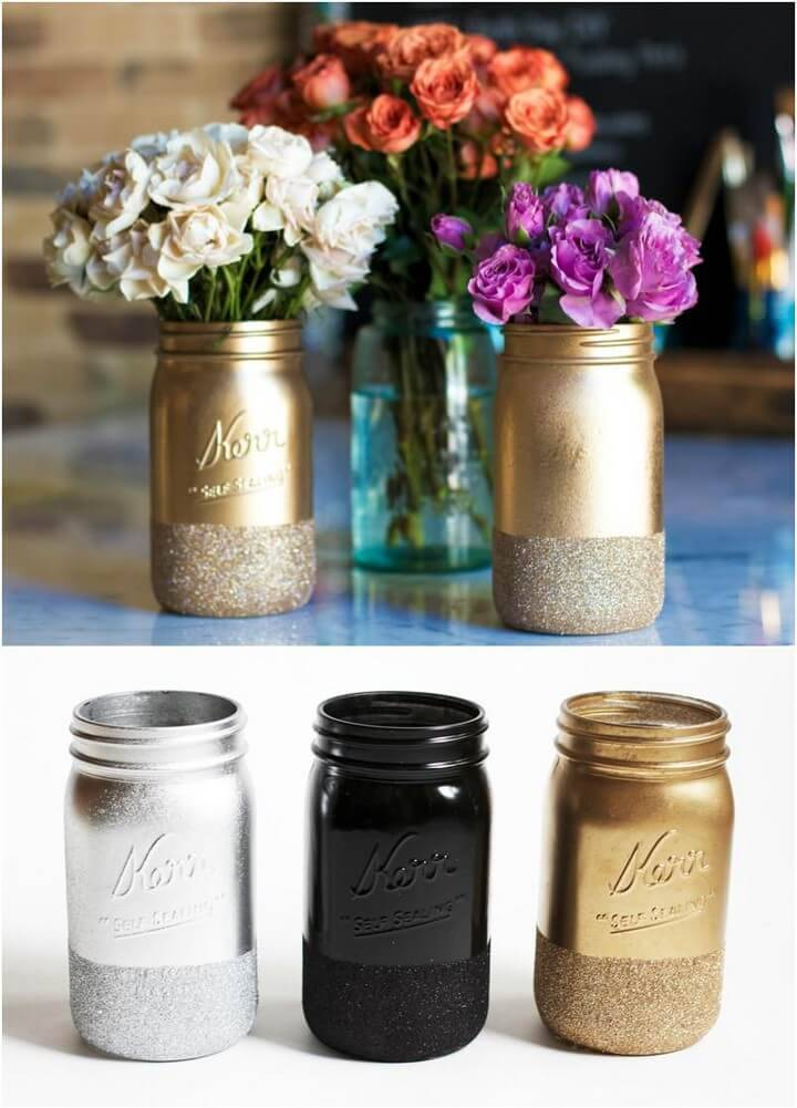DIY Glitter Dipped Mason Jar Vases