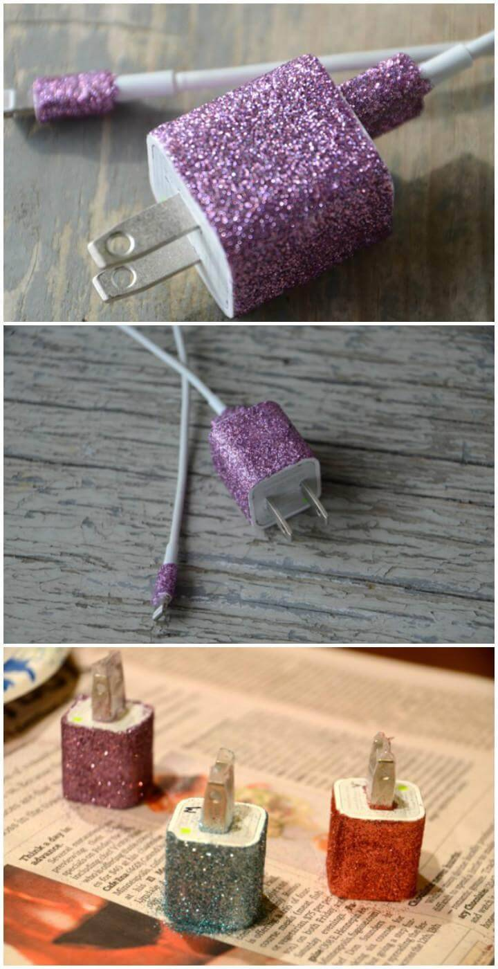 DIY Glitterized Phone Charger