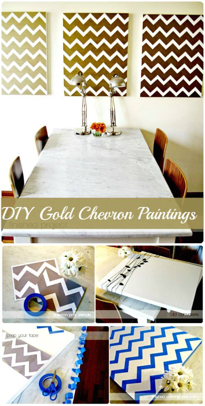 DIY Gold Chevron Paintings