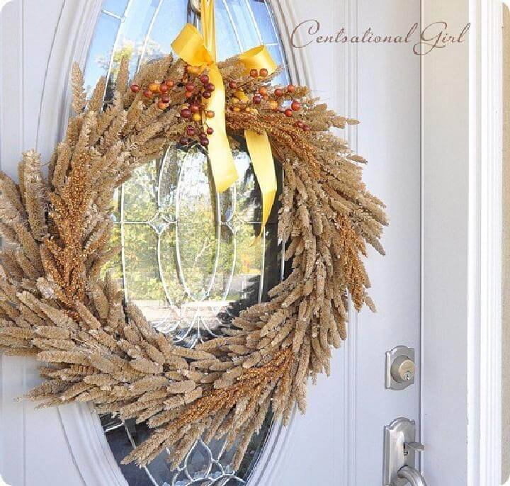 DIY Golden Grass Natural Fall Wreath