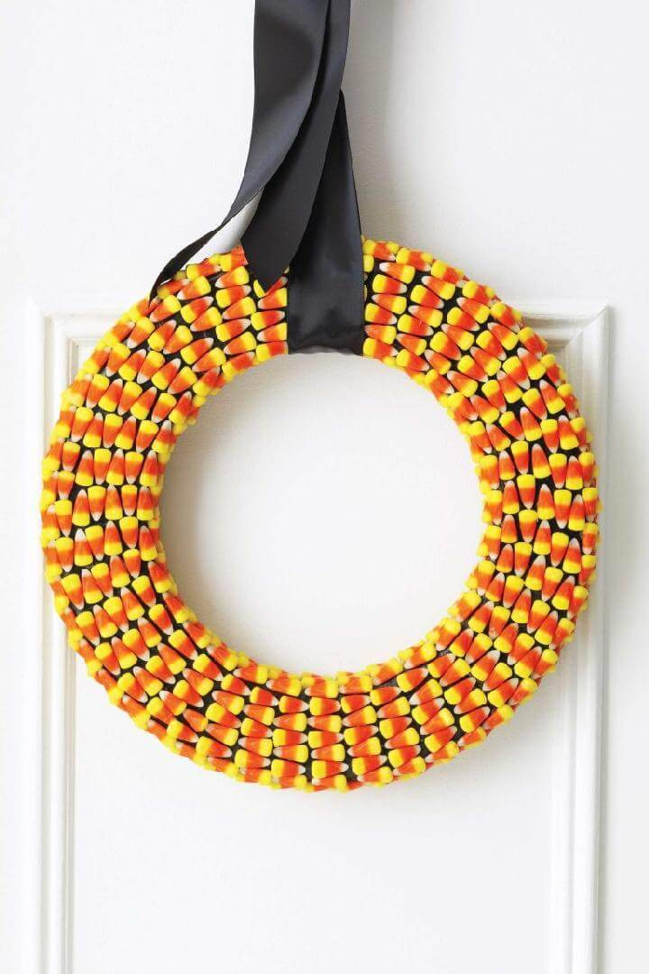 DIY Gorgeous Halloween Candy Corn Fall Wreath