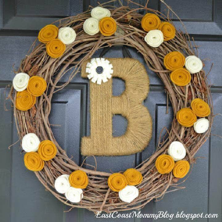 DIY Great Fall Wreath with Monogram