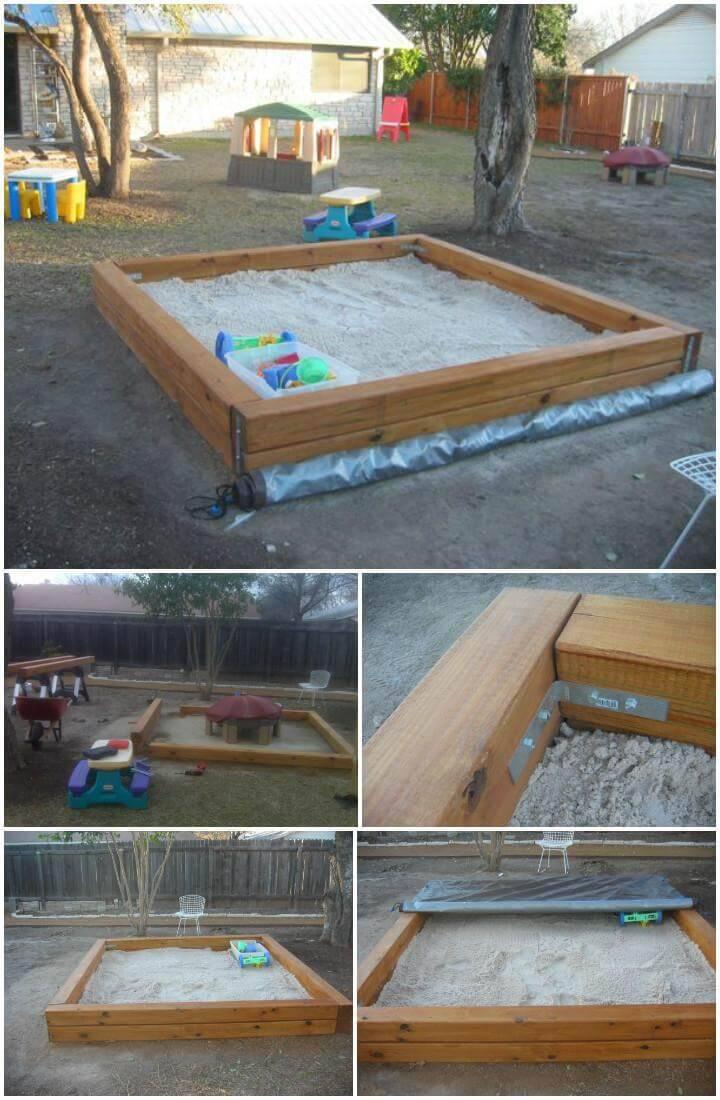 DIY Hand-Built Sandbox with Rolling Over Tarp