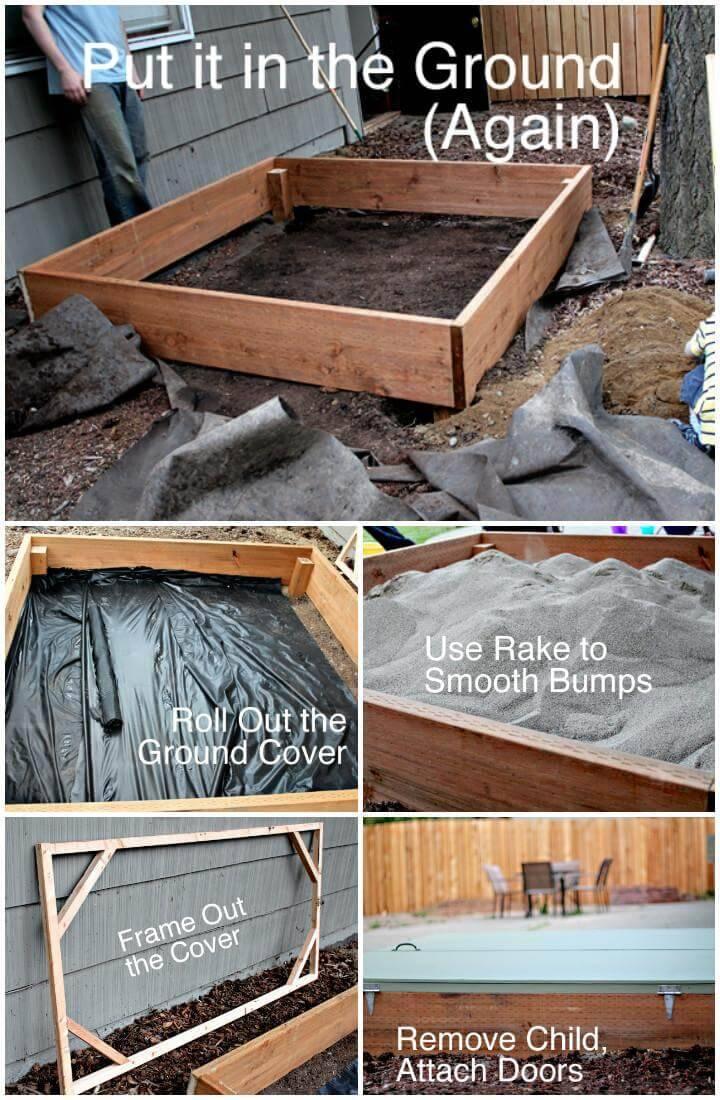 DIY Hand-Built Wooden Sandbox with Hinged Door